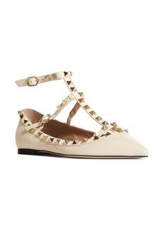 VALENTINO GARAVANI Rockstud Ankle Strap Pointy Toe Flat (Women)