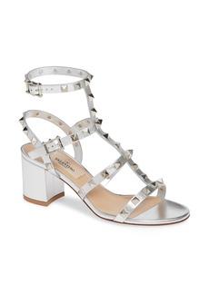 VALENTINO GARAVANI Rockstud Metallic Block Heel Sandal (Women)
