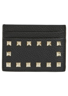 VALENTINO GARAVANI Rockstud Calfskin Leather Card Holder