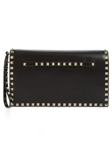 VALENTINO GARAVANI Rockstud Calfskin Leather Clutch