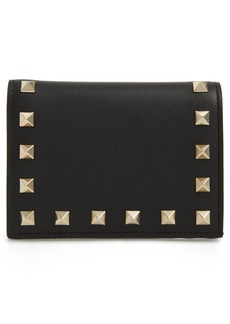 VALENTINO GARAVANI Rockstud Calfskin Leather French Wallet