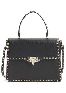 VALENTINO GARAVANI Rockstud Calfskin Leather Top Handle Shoulder Bag