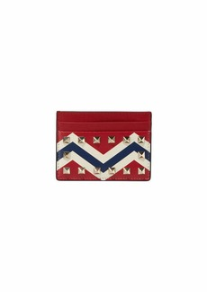 Valentino Garavani Rockstud Chevron Leather Card Holder