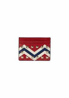 Valentino Garavani Rockstud Chevron Leather Card Holder