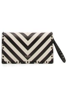 VALENTINO GARAVANI Rockstud Chevron Stripe Leather Clutch
