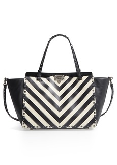 VALENTINO GARAVANI Rockstud Chevron Stripe Leather Tote