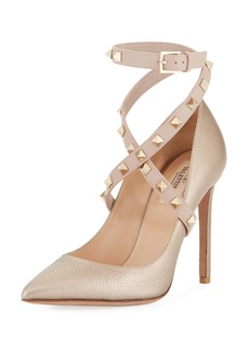 Valentino Rockstud Crisscross Ankle-Wrap Pumps