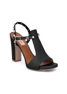 Valentino Rockstud Cutout Leather Block-Heel Slingbacks