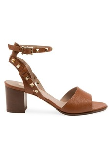 Valentino Garavani Rockstud Double Ankle-Strap Leather Sandals