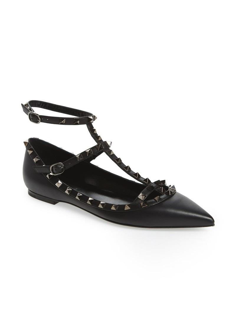 VALENTINO GARAVANI 'Rockstud' Double Ankle Strap Pointy Toe Flat