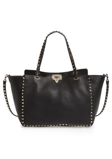 VALENTINO GARAVANI 'Rockstud' Grained Calfskin Leather Tote