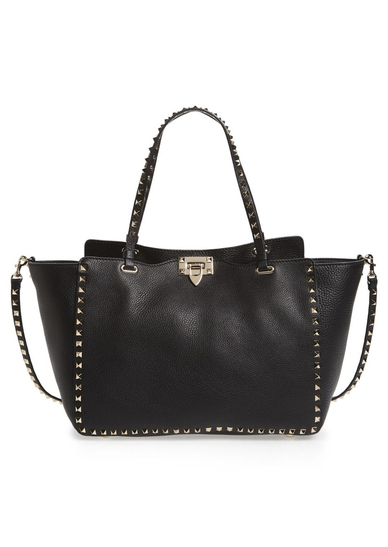 Valentino Garavani Medium Rockstud Grained Calfskin Leather Tote