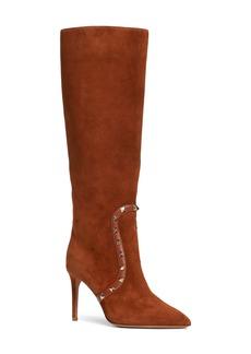 VALENTINO GARAVANI Rockstud Knee High Pointed Toe Boot (Women)