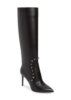 VALENTINO GARAVANI Rockstud Knee High Pointed Toe Boot (Women)