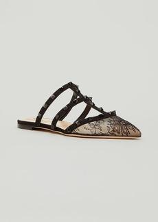 Valentino Garavani Rockstud Lace Flat Slide Mules