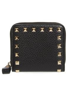 VALENTINO GARAVANI Rockstud Lambskin Leather Zip Around Wallet