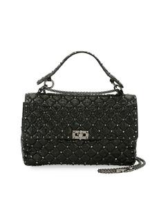 Valentino Garavani Rockstud Large Quilted Shoulder Bag  Black