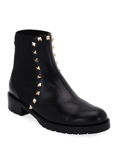 Valentino Garavani Rockstud Leather Boot  Black