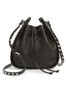 VALENTINO GARAVANI Rockstud Leather Bucket Bag