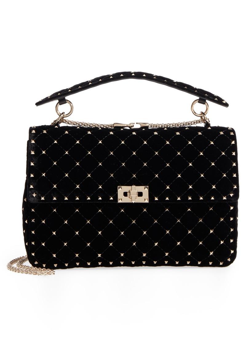 0c55b8ee9fb Valentino VALENTINO GARAVANI Rockstud Matelassé Velvet Shoulder Bag ...