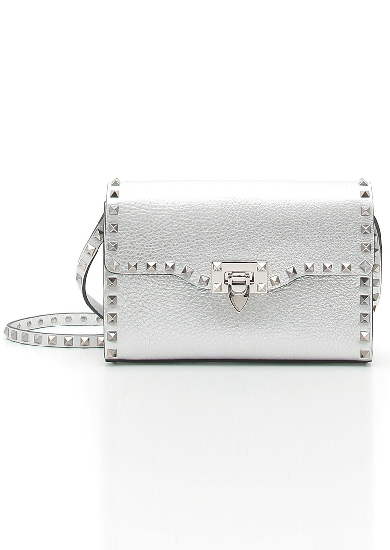 282f627008cd GARAVANI Rockstud Medium Metallic Leather Crossbody Bag. Valentino