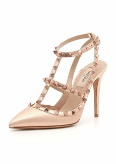 Valentino Garavani Rockstud Metallic Leather 100mm Pump - Rose Hardware
