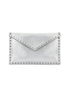 Valentino Garavani Rockstud Metallic Leather Envelope Clutch Bag