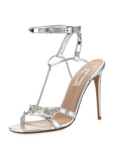 Valentino Garavani Rockstud Metallic T-Strap Sandal