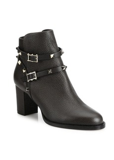Valentino Garavani Rockstud Pebbled Leather Block Heel Booties