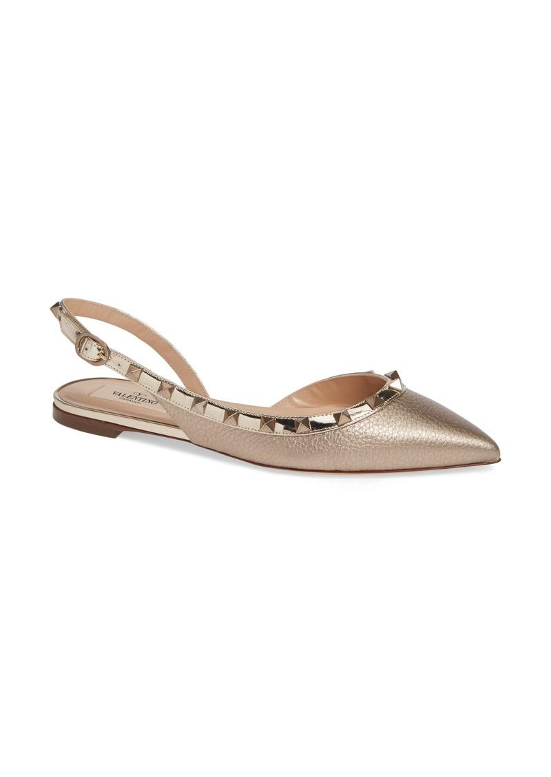 Valentino Garavani Rockstud Pointed Toe Slingback Flat (Women)