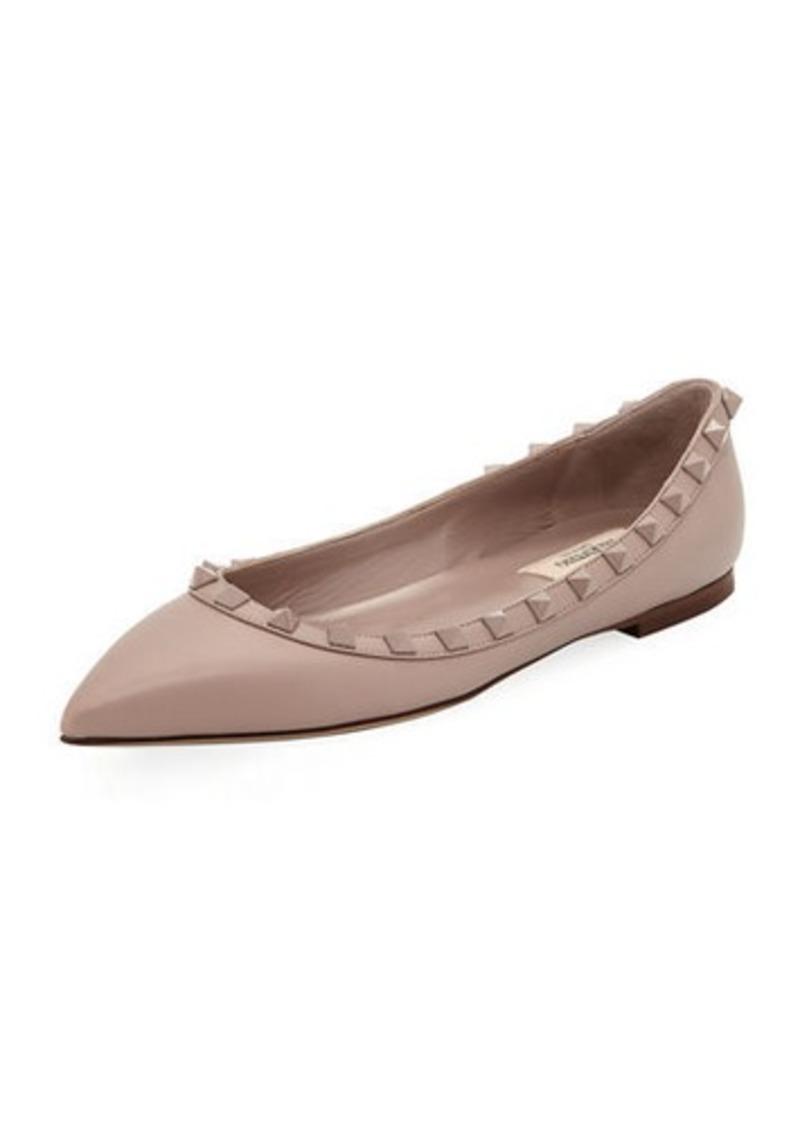 429b4cc3584f Valentino Rockstud Smooth Calf Leather Ballet Flats