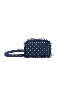 Valentino Rockstud Spike Fringed Denim Crossbody Bag