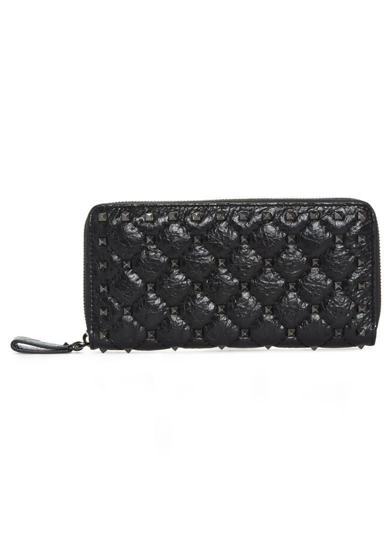 b4239c191c53 VALENTINO GARAVANI Rockstud Spike Matelassé Leather Continental Wallet