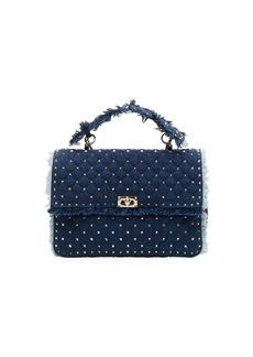Valentino Rockstud Spike Maxi Fringe Denim Shoulder Bag