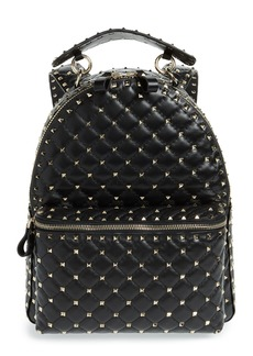 VALENTINO GARAVANI Rockstud Spike Quilted Lambskin Leather Backpack