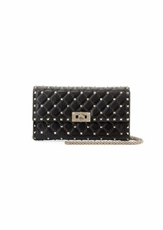 Valentino Garavani Rockstud Spike Quilted Napa Leather Wallet on Chain