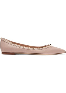 Valentino Garavani Rockstud Textured-leather Point-toe Flats