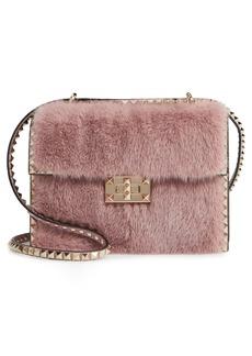 VALENTINO GARAVANI Small Rockstud Genuine Mink Fur Shoulder Bag