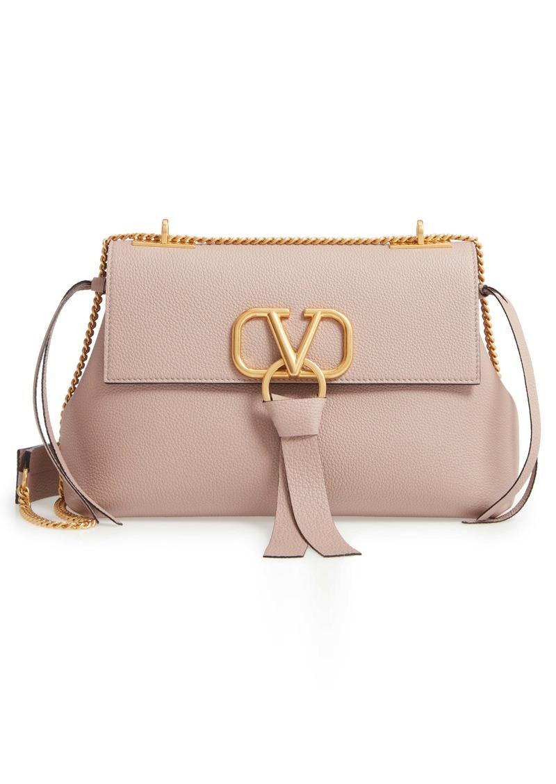 VALENTINO GARAVANI Small V-Ring Leather Shoulder Bag