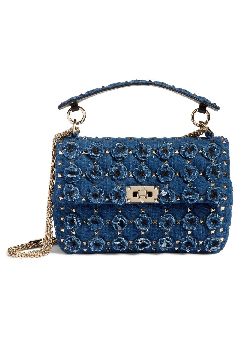 Valentino Garavani Spike It Medium Denim Shoulder Bag