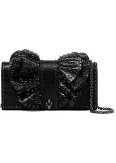 Valentino Garavani Studded Cracked-leather Shoulder Bag