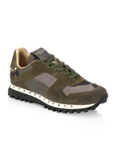 Valentino Women's Studded Suede & Camo Sneakers
