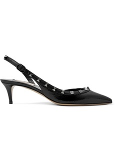 Valentino Garavani The Rockstud 50 Patent-leather Slingback Pumps