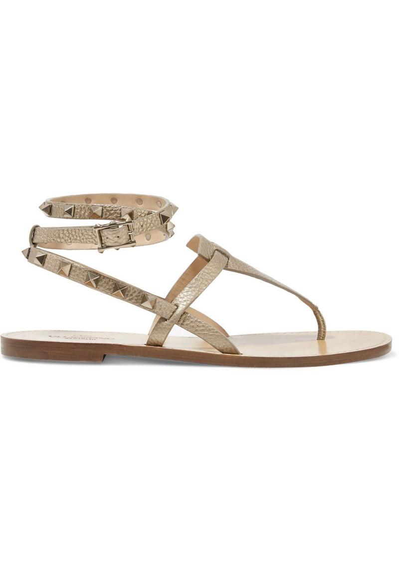 Valentino Garavani The Rockstud Metallic Textured-leather Sandals