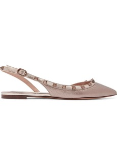 Valentino Garavani The Rockstud Metallic Textured-leather Slingback Flats