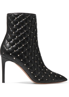 Valentino Garavani The Rockstud Quilted Leather Ankle Boots