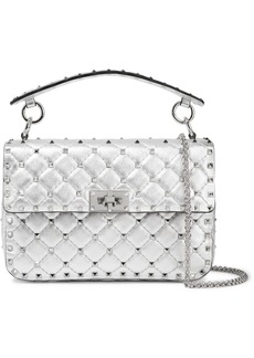 Valentino Garavani The Rockstud Spike Medium Quilted Metallic Leather Shoulder Bag