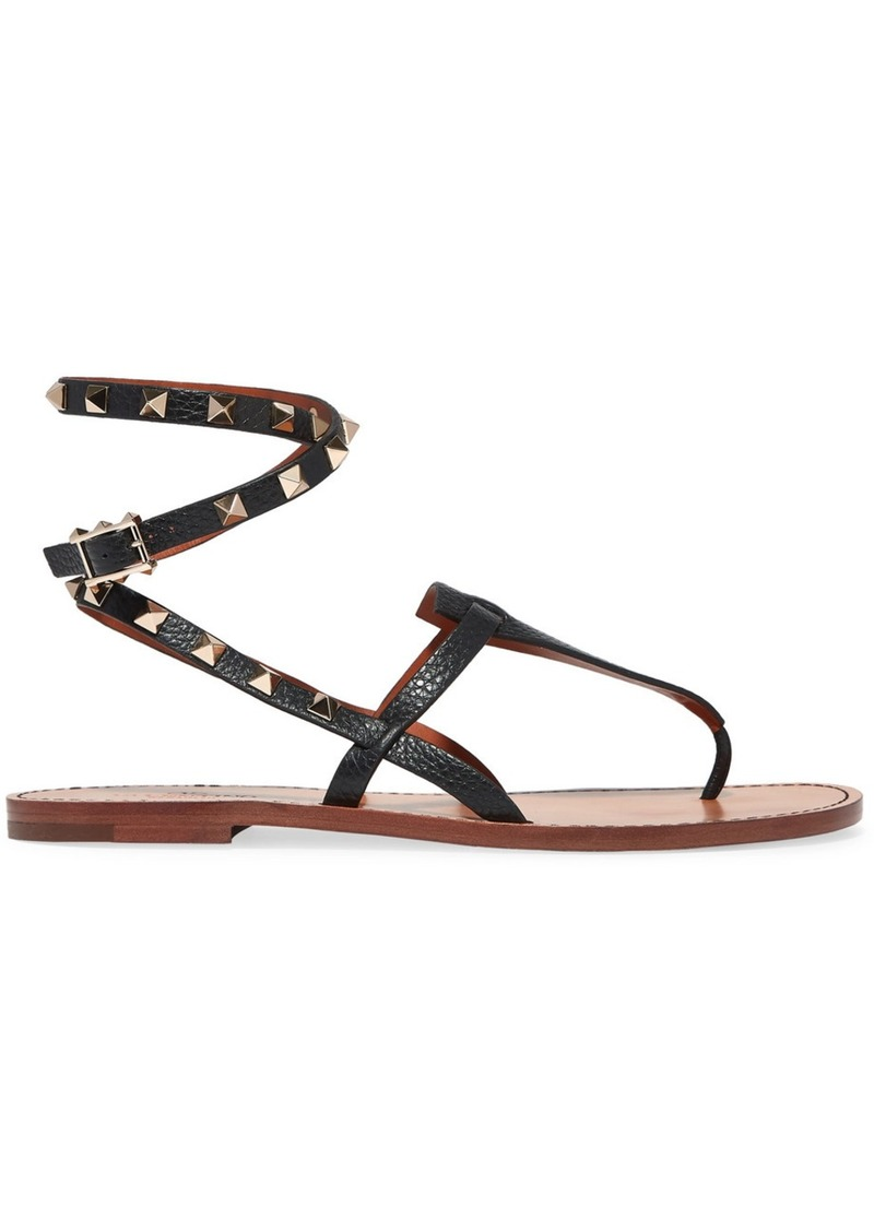 Valentino Garavani The Rockstud Textured-leather Sandals