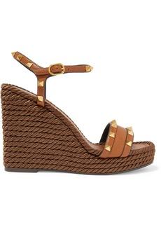 Valentino Garavani The Rockstud Torchon 115 Textured-leather Espadrille Wedge Sandals
