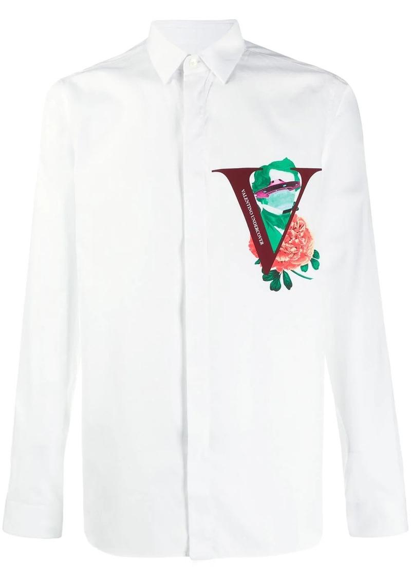 Valentino Garavani V Face Rose print shirt